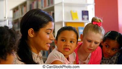 asian, szkoła, samica, schoolkids, nauczanie, 4k, nauczyciel...