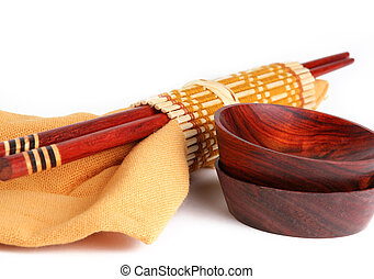 Asian tableware - Wooden chop sticks, sauce cups and napkin...