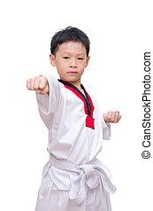 Asian taekwondo boy isolated on white background