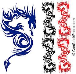 Asian pattern tattoo. Dragon. Illustration on white background.