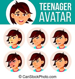 Asian Teen Girl Avatar Set Vector. Face Emotions. Expression, Positive Person. Beauty, Lifestyle. Cartoon Head Illustration