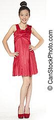 Asian teen girl in a red dress
