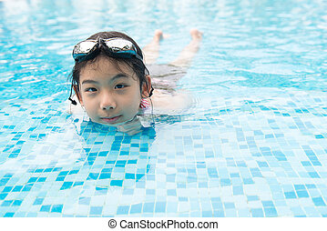 Asian teenager girl with goggles