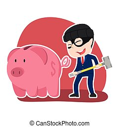 Asian thief businessman want to break piggy bank