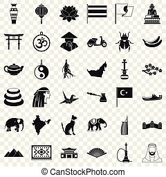 Asian things icons set, simple style
