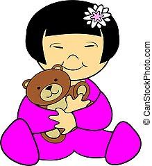 Asian Toddler Hodling Teddy Bear