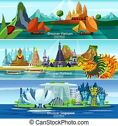 Asian travel banners