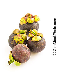 Asian tropical mangosteen fruit isolated