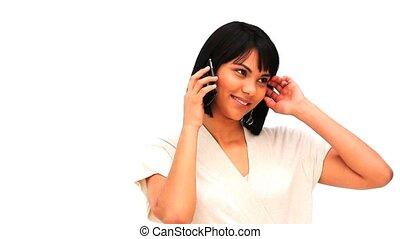 asian, używając, kobieta, smartphone