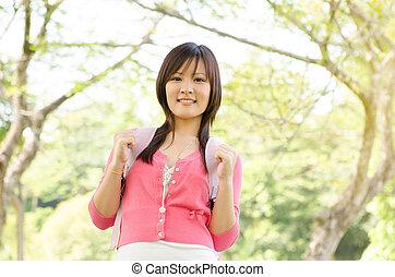Asian university girl student