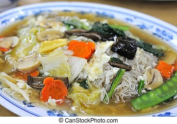 Asian vegetarian cuisine with healthy vegetables. Suitable...