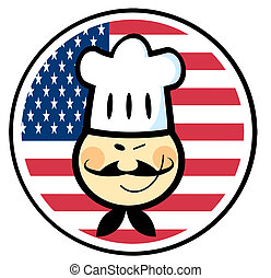 Asian Winked Chef Man Face - Winking Asian Chef Face Over An...