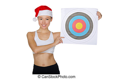 Asian with a target isolated on white