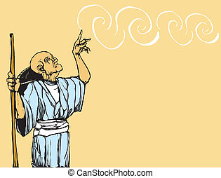 Asian Wizard - Old asian wizard casts a spell. Plenty of...