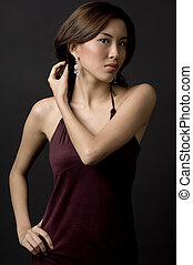 Asian Woman - A beautiful asian woman in a velvet evening...