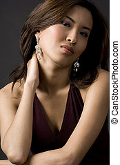 Asian Woman - A beautiful asian woman with her hand behind...