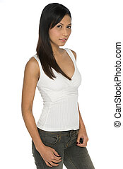 Asian Woman - A slim and pretty Asian woman in white top and...