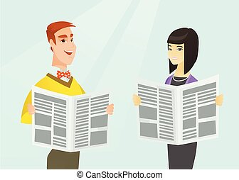 Asian woman and Caucasian man reading newspapers. - Young...