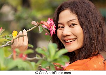 asian woman and  flower