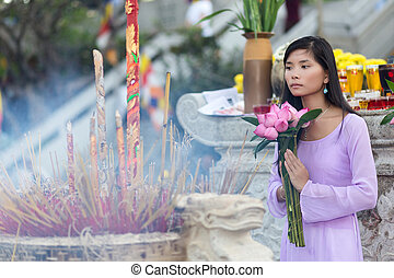 Asian woman at temple