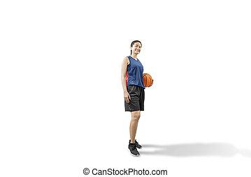 Asian woman basketball player holding the ball