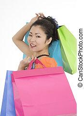 Asian Woman - Beautiful and sexy Asian woman carr shopping ...