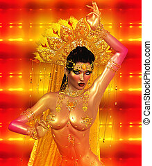 Asian woman belly dancer.