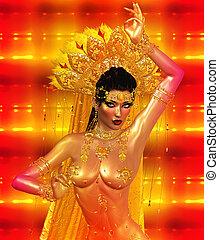 Asian woman belly dancer.