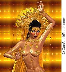 Asian woman belly dancing.