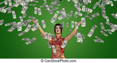 Asian Woman Catching Money Falling From the Sky
