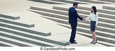 Asian Woman Caucasian Businessman Handshake City Steps