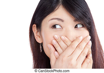 Asian Woman Covering her Mouth