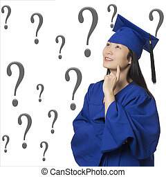 Asian woman deep in thought wearing graduation gown isolated white background