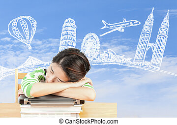 Asian woman dreaming about travel and holiday