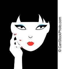 Asian woman face. Graphic female portrait. Fashion illustration