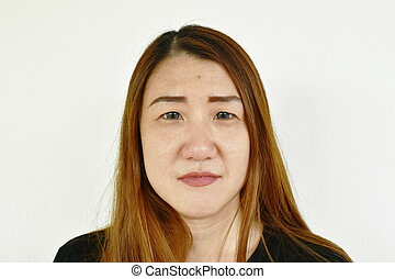 Asian woman face portrait on white background