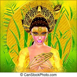 Asian woman fantasy art.