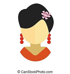 Asian woman flat icon avatar
