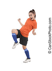 Asian woman football player happy