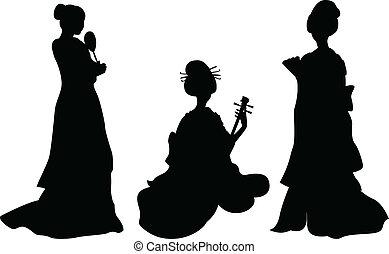 Asian woman, geisha, set of silhouettes