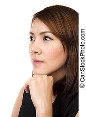 asian, woman., handlowy