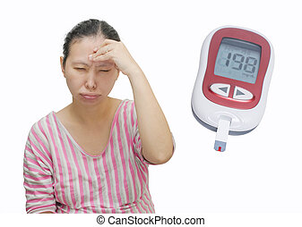 Asian woman have dizziness because high blood sugar.