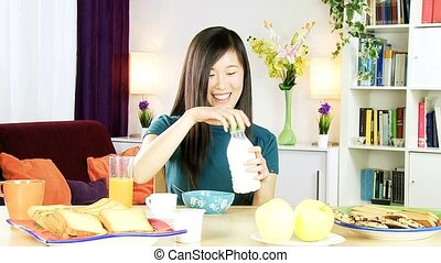 Asian woman have healthy breakfast