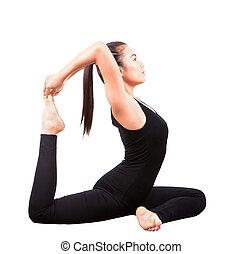 asian woman health care yoga postin