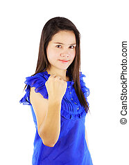Asian woman hold arm fist isolated on white background