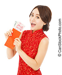 asian woman holding a red envelope with money for happy chinese new year