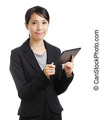 Asian woman holding a tablet