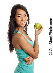 Asian Woman holding an apple