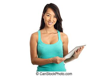 Asian Woman holding digital tablet