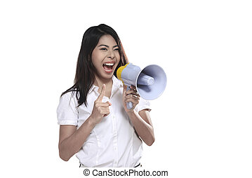 Asian Woman Holding Megaphone